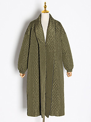 cheap Maxi Dresses-Women's V Neck Coat Long Solid Colored Daily Basic Fall & Winter Oversized Khaki / Green One-Size