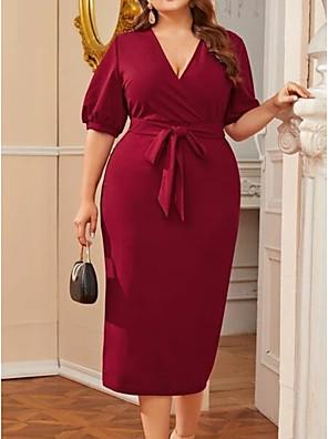 cheap Plus Size Dresses-Women's Shift Dress Knee Length Dress - Half Sleeve Solid Color Summer Casual 2020 Wine XXXL XXXXL XXXXXL XXXXXXL