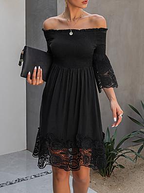 cheap Evening Dresses-Women's A-Line Dress Knee Length Dress - Half Sleeve Solid Color Print Summer Elegant Daily 2020 Black S M L XL XXL