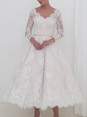 cheap Prom Dresses-A-Line Wedding Dresses V Neck Ankle Length Lace Long Sleeve Vintage 1950s with Sashes / Ribbons 2020