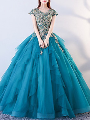 cheap Evening Dresses-Ball Gown Elegant Luxurious Quinceanera Formal Evening Dress Jewel Neck Short Sleeve Floor Length Tulle with Beading Appliques 2020
