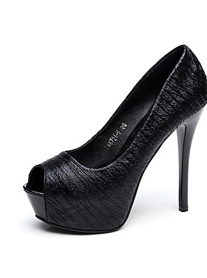 cheap Mother of the Bride Dresses-Women's Sandals Summer Platform Stiletto Heel Open Toe Daily Solid Colored PU Black / 3-4
