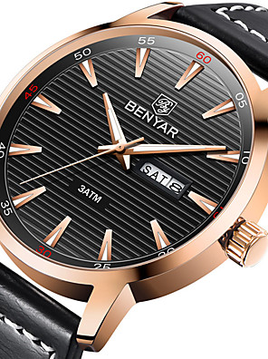 cheap Sport Watches-BENYAR Men's Sport Watch Quartz Modern Style Stylish Casual Water Resistant / Waterproof Stainless Steel Leather Analog - Black / Silver Black+Gloden White+Silver / Calendar / date / day