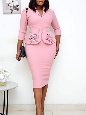 cheap Plus Size Dresses-Women's A-Line Dress Knee Length Dress - 3/4 Length Sleeve Solid Color Fall Work 2020 Black Blushing Pink Light Blue S M L XL XXL XXXL