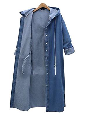 abordables Manteaux en Laine et Mélange de Laine pour Femme-Femme Trench Longue Couleur Pleine Quotidien Basique Automne hiver Coton Bleu / Bleu clair L / XL / XXL