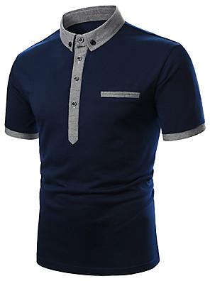 Недорогие Мужские рубашки-Муж. Polo Однотонный Пэчворк С короткими рукавами Верхушки Классический Белый Темно синий