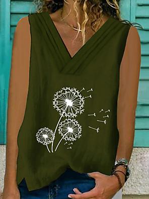 cheap Women's Pants-Women's Tank Top Graphic V Neck Tops Summer Yellow Army Green Gray