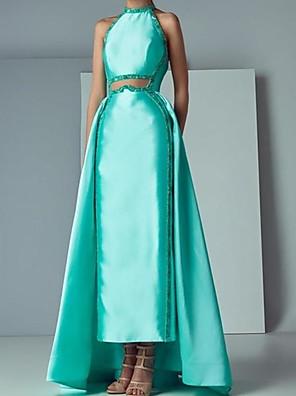 cheap Evening Dresses-Sheath / Column Elegant Beautiful Back Engagement Prom Dress Halter Neck Sleeveless Floor Length Satin with Beading 2020