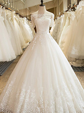 cheap Wedding Dresses-Ball Gown Wedding Dresses Off Shoulder Court Train Lace Tulle Long Sleeve Formal with Appliques 2020