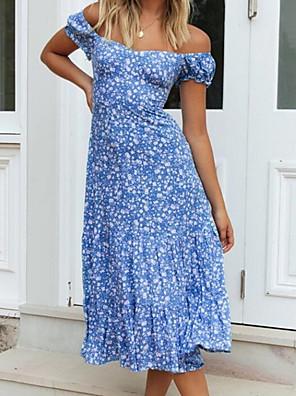 Χαμηλού Κόστους Για νεαρές γυναίκες-Γυναικεία Φορέματα σιφόν Μίντι φόρεμα - Κοντομάνικο Φλοράλ Καλοκαίρι Μπόχο 2020 Θαλασσί Τ M L XL XXL XXXL XXXXL XXXXXL