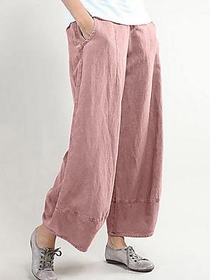 cheap Women's Pants-Women's Basic Wide Leg Pants - Solid Colored Black Dusty Rose Light gray S / M / L