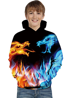 cheap Boys' Tops-Kids Toddler Boys' Active Basic Dragon Fantastic Beasts Geometric 3D Animal Print Long Sleeve Hoodie & Sweatshirt Blue