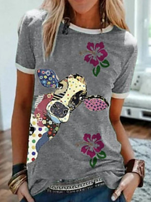 cheap Women's T-shirts-Women's T-shirt Animal Round Neck Tops Gray