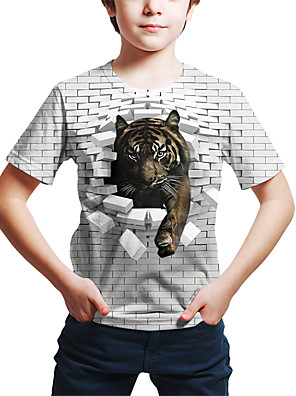 cheap Boys' Tops-Kids Toddler Boys' Active Street chic Tiger Geometric 3D Tiger Print Short Sleeve Tee White