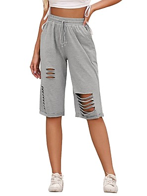 cheap Women's Pants-Women's Basic Daily Chinos Shorts Pants - Solid Colored Cut Out Sports Gray S / M / L