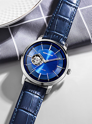 cheap Wedding Dresses-DEFORCE Men's Mechanical Watch Automatic self-winding Modern Style Stylish Casual Water Resistant / Waterproof Leather Black / Blue Analog - Black Blue / Stainless Steel