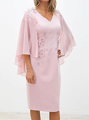 cheap Mother of the Bride Dresses-Two Piece Sheath / Column Mother of the Bride Dress Elegant V Neck Knee Length Chiffon Lace 3/4 Length Sleeve with Appliques 2020