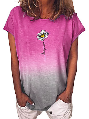 cheap Women's T-shirts-Women's T-shirt Floral Color Gradient Tops Blue Purple Yellow / Short Sleeve