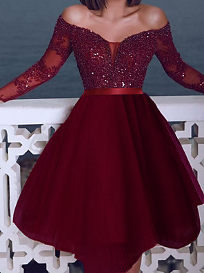 cheap Cocktail Dresses-Back To School A-Line Sexy Sparkle Homecoming Cocktail Party Dress Off Shoulder Long Sleeve Short / Mini Tulle with Sequin 2020 Hoco Dress