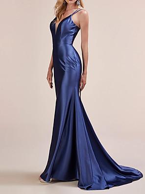 cheap Evening Dresses-Mermaid / Trumpet Beautiful Back Sexy Engagement Formal Evening Dress V Neck Sleeveless Sweep / Brush Train Charmeuse with Sleek 2020