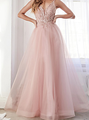 cheap Evening Dresses-A-Line Elegant Luxurious Engagement Prom Dress V Neck Sleeveless Floor Length Tulle with Appliques 2020