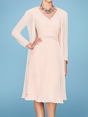 cheap Evening Dresses-Two Piece A-Line Mother of the Bride Dress Elegant V Neck Knee Length Chiffon 3/4 Length Sleeve with Sash / Ribbon Ruching 2020