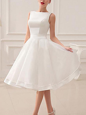 cheap Wedding Dresses-A-Line Wedding Dresses Jewel Neck Short / Mini Satin Sleeveless Vintage Little White Dress 1950s with Bow(s) 2020