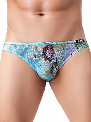 baratos Moda Íntima Exótica para Homens-Homens Renda / Estampado Cuecas - Normal Cintura Baixa Preto Azul Roxo M L XL