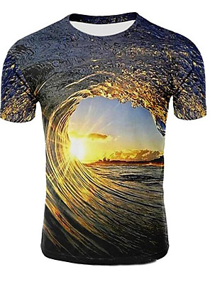 cheap Men's Tops-Men's T shirt Galaxy Graphic 3D Plus Size Print Short Sleeve Casual Tops Light Purple Light Brown Dark Green