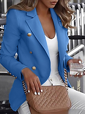 cheap Women's Blouses & Shirts-Women's Notch lapel collar Blazer Regular Solid Colored Daily White / Black / Blue S / M / L