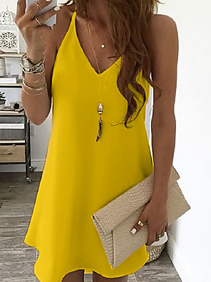 cheap Casual Dresses-Women's Strap Dress Knee Length Dress - Sleeveless Solid Color Summer V Neck Sexy 2020 White Black Blue Yellow Blushing Pink Light Blue S M L XL XXL XXXL XXXXL XXXXXL