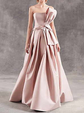 cheap Evening Dresses-A-Line Elegant Minimalist Engagement Formal Evening Dress Strapless Sleeveless Floor Length Satin with Sash / Ribbon 2020