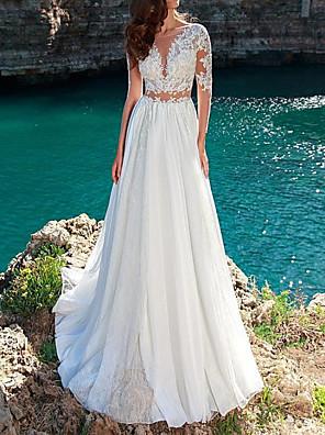 cheap Wedding Dresses-A-Line Wedding Dresses Jewel Neck Sweep / Brush Train Chiffon Lace Long Sleeve Beach with Pleats Appliques 2020