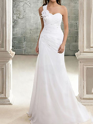 cheap Evening Dresses-Mermaid / Trumpet Wedding Dresses One Shoulder Sweep / Brush Train Chiffon Sleeveless Simple with Appliques 2020
