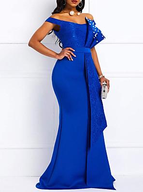cheap Evening Dresses-Mermaid / Trumpet Elegant Beautiful Back Engagement Formal Evening Dress Off Shoulder Short Sleeve Sweep / Brush Train Lace Satin with Sash / Ribbon Pearls 2020