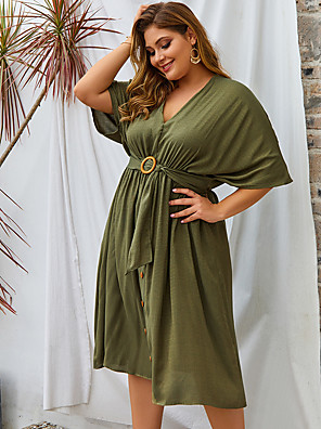 cheap Party Dresses-Women's Swing Dress Knee Length Dress - Half Sleeve Solid Color Spring Summer V Neck Casual Daily Loose 2020 Black Blushing Pink Army Green XL XXL XXXL XXXXL