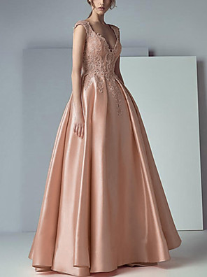 cheap Prom Dresses-A-Line Beautiful Back Floral Engagement Prom Dress V Neck Sleeveless Floor Length Lace Satin with Pleats Appliques 2020