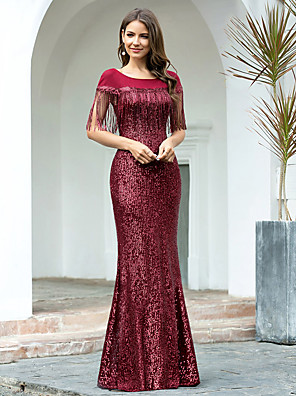 cheap Evening Dresses-Mermaid / Trumpet Elegant Sparkle Wedding Guest Formal Evening Dress Jewel Neck Short Sleeve Floor Length Sequined with Sequin Tassel 2020