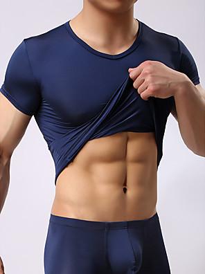 cheap Men's Exotic Underwear-Men's Round Neck Loungewear Pajamas Solid Colored