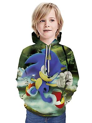 cheap Boys' Tops-Kids Boys' Active Street chic 3D Patchwork Print Long Sleeve Hoodie & Sweatshirt Rainbow