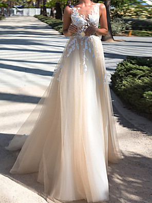 cheap Wedding Wraps-A-Line Wedding Dresses V Neck Sweep / Brush Train Lace Tulle Sleeveless Beach with Appliques 2020