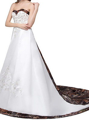 cheap Wedding Dresses-A-Line Wedding Dresses Strapless Court Train Satin Sleeveless Formal Beach with 2020