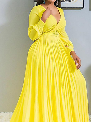 cheap Evening Dresses-A-Line Minimalist Plus Size Wedding Guest Formal Evening Dress V Neck Long Sleeve Sweep / Brush Train Chiffon with Sash / Ribbon Pleats 2020