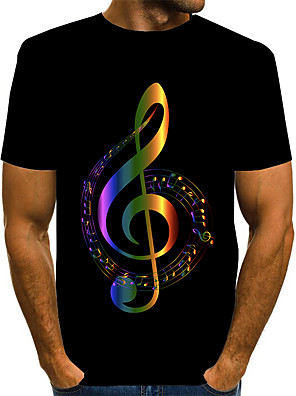 cheap Men's Tees & Tank Tops-Men's Daily T-shirt Graphic Print Short Sleeve Tops Basic Exaggerated Round Neck Red Gold Rainbow
