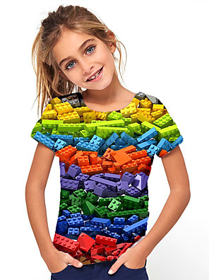 cheap Boys' Tops-Kids Girls' Basic Holiday Geometric Print Short Sleeve Tee Rainbow