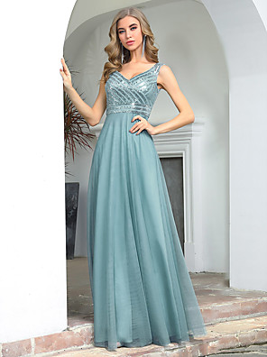 cheap Evening Dresses-A-Line Glittering Empire Wedding Guest Formal Evening Dress V Neck Sleeveless Floor Length Tulle Sequined with Sequin 2020