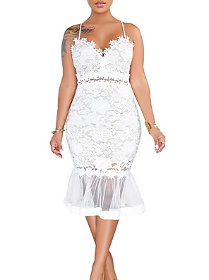 cheap Plus Size Dresses-Women's Strap Dress Knee Length Dress - Sleeveless Solid Color Summer Casual Sexy 2020 White Black S M L XL XXL