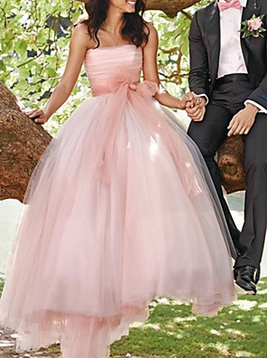 cheap Evening Dresses-A-Line Wedding Dresses Strapless Sweep / Brush Train Tulle Sleeveless Country Wedding Dress in Color with Sashes / Ribbons Pleats 2020