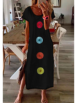 cheap Maxi Dresses-Women's Shift Dress Maxi long Dress - Short Sleeve Print Summer Casual Daily 2020 Blue M L XL XXL XXXL