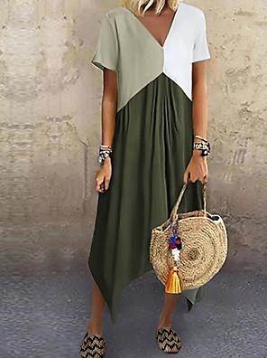 cheap Prom Dresses-Women's A-Line Dress Midi Dress - Short Sleeve Color Block Color Block Spring & Summer V Neck Stylish Casual Vacation 2020 Red Green Gray Light Blue S M L XL XXL XXXL XXXXL XXXXXL